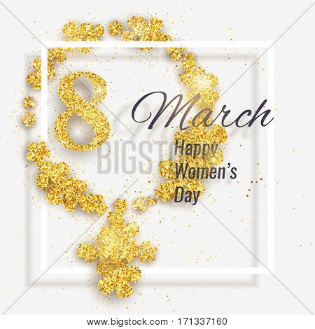 Vector 8 March Happy International Women's Day greeting card with female gender symbol made with sparkling gold glitter flowers