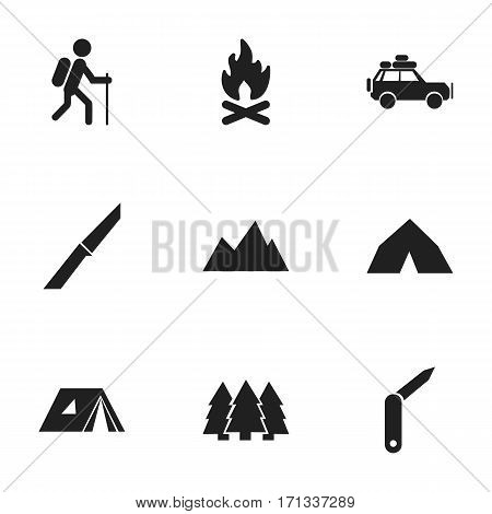 Set Of 9 Editable Camping Icons. Includes Symbols Such As Voyage Car, Knife, Tepee And More. Can Be Used For Web, Mobile, UI And Infographic Design.