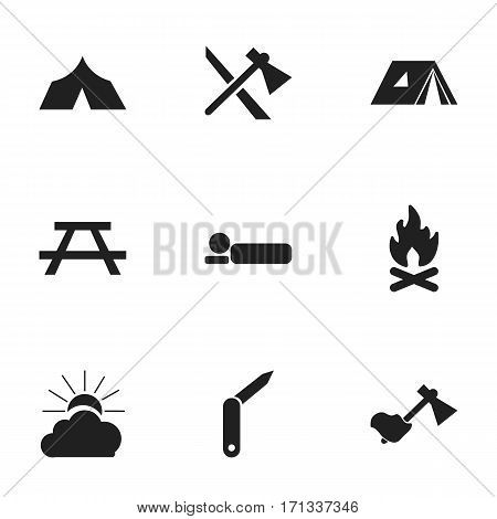 Set Of 9 Editable Trip Icons. Includes Symbols Such As Refuge, Shelter, Fever And More. Can Be Used For Web, Mobile, UI And Infographic Design.
