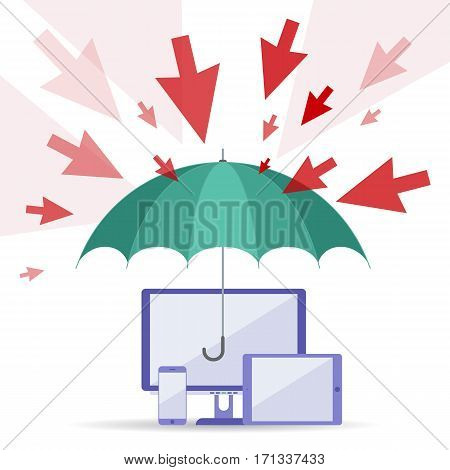 Hacker attack and safety digital technology concept. Vector flat illustration of cursors umbrella computers telephone. Viruses attack guard protects data. Element for web brochure presentation.