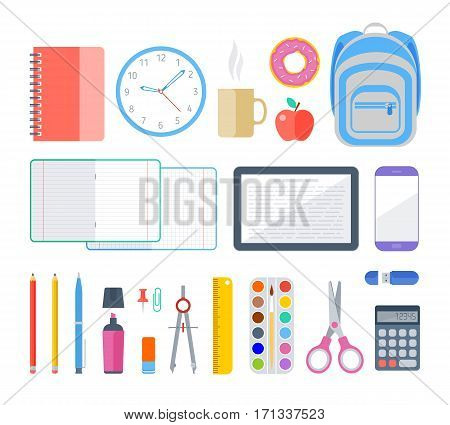 School and education workplace items. Vector flat illustration of top view object set. Isolated school education workspace accessories on white background. Infographic elements for web presentation.