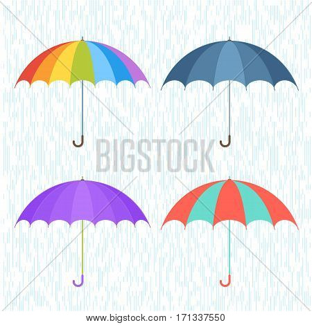Vector flat illustration of umbrella and rain drops background. Four various types shapes and coloration umbrellas. Infographic and design elements for webdesign print publish presentation poster