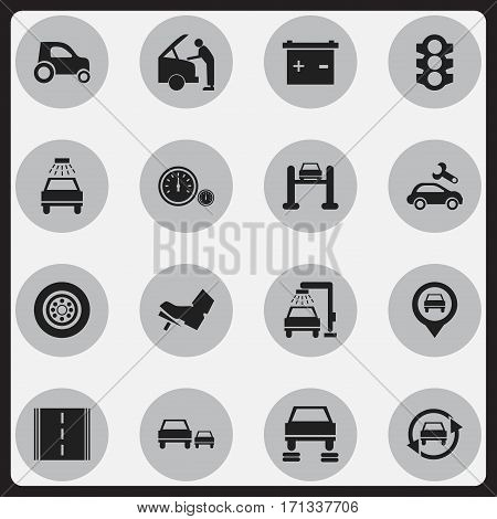 Set Of 16 Editable Traffic Icons. Includes Symbols Such As Stoplight, Vehicle Wash, Tuning Auto And More. Can Be Used For Web, Mobile, UI And Infographic Design.