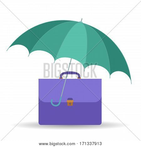 Protect and insurance business symbol. Vector flat illustration of umbrella and business case. Assurance infographic design element for web internet print presentation brochure social networks.