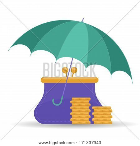 Protect and insurance money saving comcept. Vector flat illustration of umbrella purse and coins. Assurance deposit infographic design element for web print presentation brochure social networks.