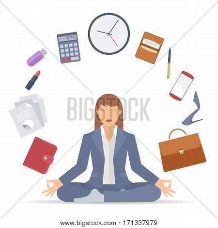Flat vector business concept illustration of businesswoman meditation. Woman meditates at work in the lotus pose. Professional manager sitting in the meditation surrounded with office supplies.