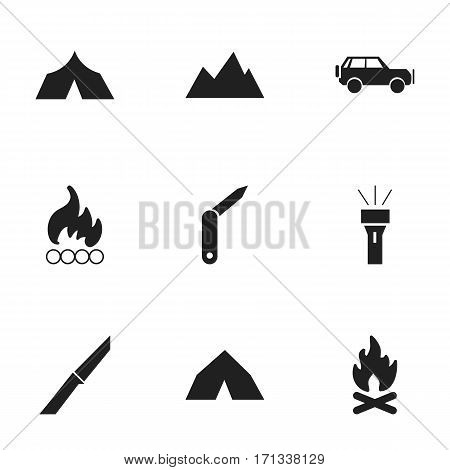 Set Of 9 Editable Trip Icons. Includes Symbols Such As Blaze, Fever, Tepee And More. Can Be Used For Web, Mobile, UI And Infographic Design.