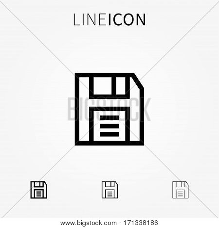 Save vector icon. Outline diskette symbol creative concept. Line art floppy disk pictogram. Thin save web element graphic design.