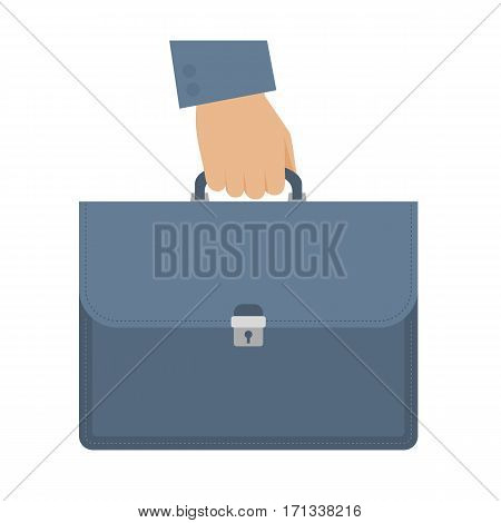 Businessman carries a briefcase by the handle. Flat isolated on white background illustration of hand holding a case. Luggage suitcase and male hand. Vector infographic element for web presentation.
