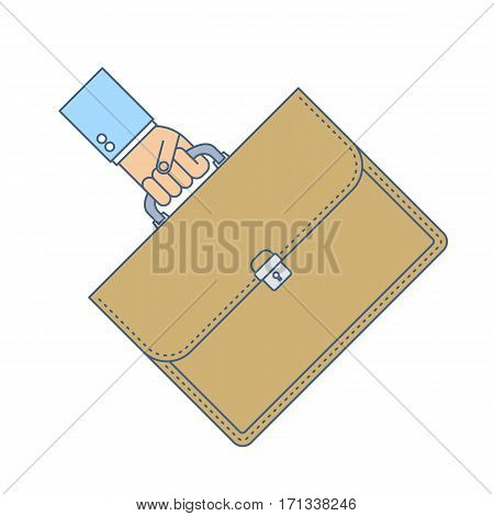 Businessman carries a briefcase by the handle. Flat line isolated on white background illustration of hand holding a case. Luggage suitcase and hand. Vector infographic element for web presentation.
