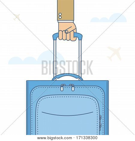 Businessman carries a baggage. Flat line isolated illustration of hand holding a traveling bag by the handle. Man going to business trip tour. Vector travel infographic element for web presentation.