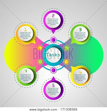Infographics, conceptual design plan, goals and objectives. Supporting material for business presentations, bright accents in your business.