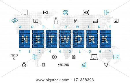 Worldwide network technology vector illustration. Server equipment with world map creative line art concept. Internet technology global communication graphic design. Big data storage infrastructure.