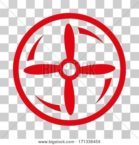 Drone Screw Rotation icon. Vector illustration style is flat iconic symbol red color transparent background. Designed for web and software interfaces.