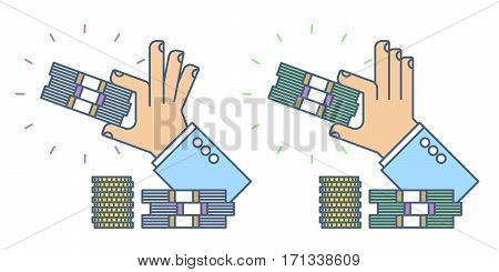 Businessman holding a bundle of money. Flat line busines savings concept illustration of two types hand paper dollars. Isolated vector design element for web infographic presentation social network