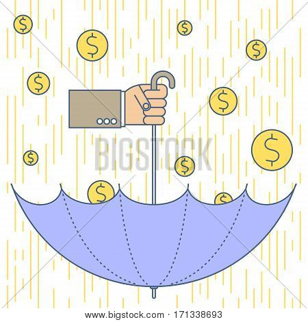 Businessman catches money get profit. Hand holding flipped umbrella under golden cash rain. Flat line vector concept illustration of falling coins. Isolated infographic element for web presentation.