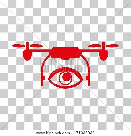 Eye Spy Drone icon. Vector illustration style is flat iconic symbol red color transparent background. Designed for web and software interfaces.