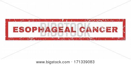 Esophageal Cancer text rubber seal stamp watermark. Caption inside rectangular banner with grunge design and scratched texture. Horizontal vector red ink sticker on a white background.