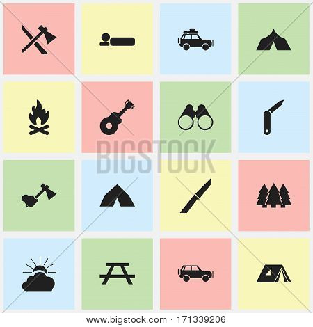 Set Of 16 Editable Camping Icons. Includes Symbols Such As Tepee, Clasp-Knife, Bedroll And More. Can Be Used For Web, Mobile, UI And Infographic Design.