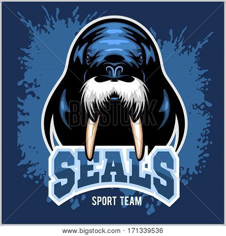 Vector Walrus logo template on blue background for sport teams, business etc.