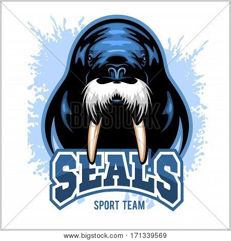 Vector Walrus logo template on white background for sport teams, business etc.