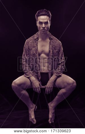Purple Yellow Duotone Man Model Handsome Sexy