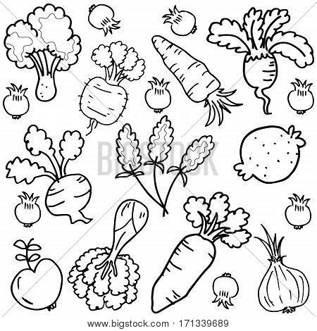 Vector art of vegetable set doodles collection stock