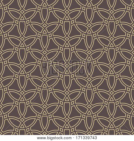 Seamless ornament in arabian style. Pattern for wallpapers and backgrounds. Brown and golden pattern