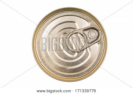 Cover the tin cans. Top view of a can food isolated. The lid of a tin can. Food packaging. Metal containers for food.