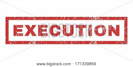 Execution text rubber seal stamp watermark. Tag inside rectangular banner with grunge design and scratched texture. Horizontal vector red ink sign on a white background.