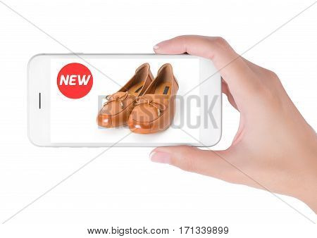 woman using smart phone searching new trendy leather shoes fashion information View of profile with red tag and brown leather shoes. Fashion and accessories concept isolated white background.