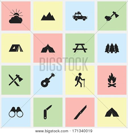 Set Of 16 Editable Trip Icons. Includes Symbols Such As Peak, Fever, Ax And More. Can Be Used For Web, Mobile, UI And Infographic Design.