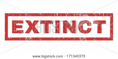 Extinct text rubber seal stamp watermark. Tag inside rectangular shape with grunge design and scratched texture. Horizontal vector red ink emblem on a white background.