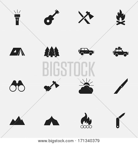 Set Of 16 Editable Camping Icons. Includes Symbols Such As Ax, Shelter, Peak And More. Can Be Used For Web, Mobile, UI And Infographic Design.