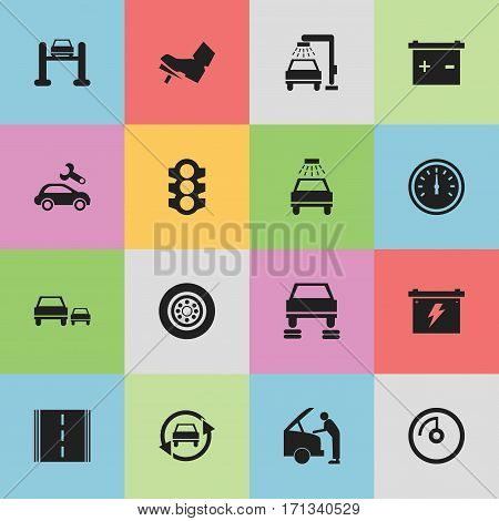 Set Of 16 Editable Vehicle Icons. Includes Symbols Such As Tuning Auto, Stoplight, Accumulator And More. Can Be Used For Web, Mobile, UI And Infographic Design.