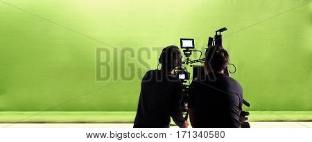Camera And Green Screen Studio In Panorama View.