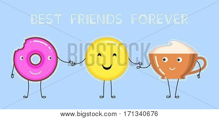 vector illustration of donut with pink glaze coffee cup smiling yellow emoji that hold on to the hands and text