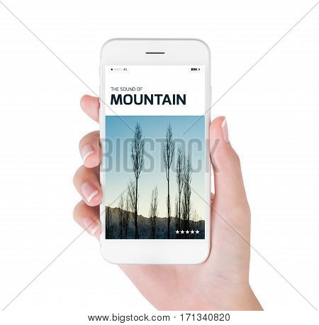 woman using her smart phone for searching the travel information of beautiful Himalayan landscape at the sunrise time Ladakh India. Traveling concept isolated on white background.