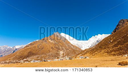 Langtang Kyanjin Gompa Village Panoramic Mountains