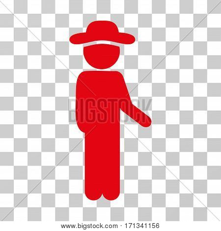 Gentleman Idler icon. Vector illustration style is flat iconic symbol red color transparent background. Designed for web and software interfaces.