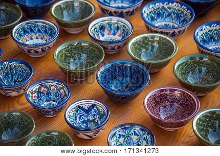 Rows Of Cups With Traditional Uzbekistan Ornament On A Street Market Of Bukhara, Uzbekistan, Central