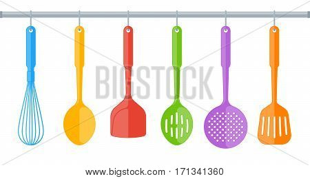 Colorful plastic kitchen utensils isolated on white background. Flat illustration of cooking tools. Vector kitchenware color elements for web culinary infographic restaurant booklet presentation.
