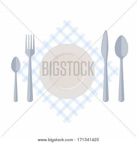 Flatware: empty plate with fork spoons and knife on a table napkin. Flat illustration of kitchen utensils isolated on a white background. Vector cutlery elements for food infographics and booklets.