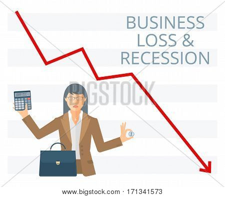 Business loss and recession flat vector concept illustration. Businesswoman is holding a coin in one hand and calculator in another. Woman with briefcase money on the background of decreasing arrow.