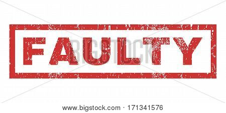 Faulty text rubber seal stamp watermark. Tag inside rectangular shape with grunge design and dust texture. Horizontal vector red ink sticker on a white background.