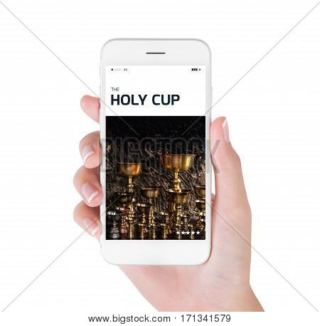 Woman using her smart phone searching The Holy cup for praying to god in tibetan buddhism information. Leh Ladakh India.Traveling concept isolated on white background.