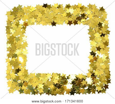 Frame with foil gold stars. Scattered stars border. Natural foiled texture.