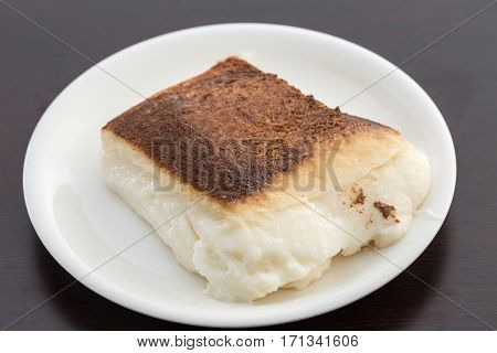 Kazandibi (pudding with burnt surface) dish in plate