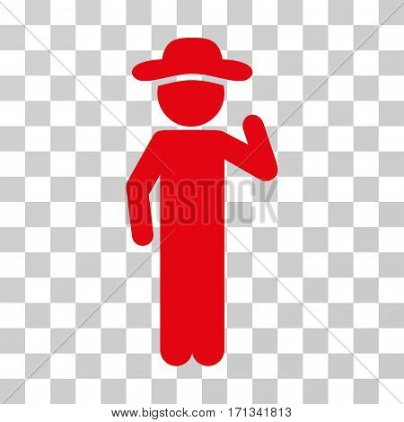 Gentleman Opinion icon. Vector illustration style is flat iconic symbol red color transparent background. Designed for web and software interfaces.