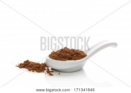 Pulverized dry reishi mushroom on spoon isolated on white background. Traditional chinese medicine herbal remedy.